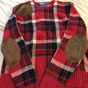 Ralph Lauren Suede Patch Sweater - Men's S
